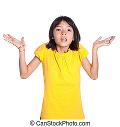 Young Asian girl shrugging shoulders