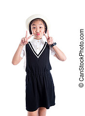 Young asian girl with funny face over white background