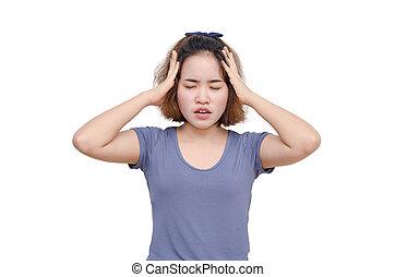 girl with headache over white