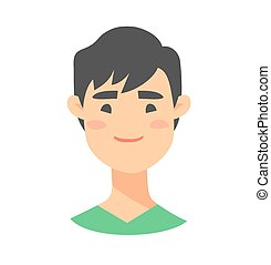 Young asian male character. Cartoon