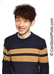 Young Asian man close up smile shot
