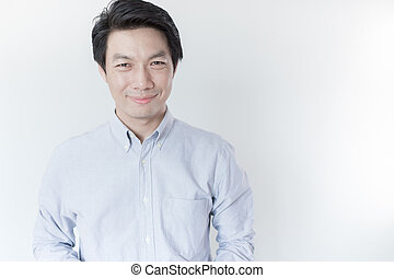 Young Asian man smiling on white background