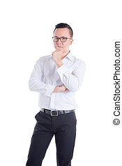 Young asian man thinking over white background