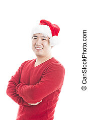 Young asian man with Christmas hat isolated on white.