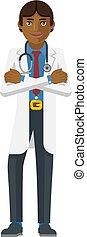 Young Asian Medical Doctor Cartoon Character