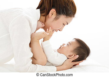 young asian Mother holding sweet baby boy