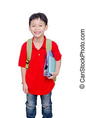 schoolboy with backpack over white