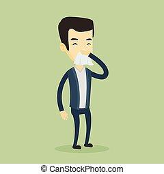 Young asian sick man sneezing.