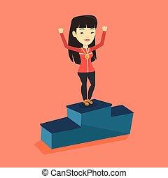 Sportswoman celebrating on the winners podium.