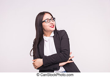 Young asian student or business lady with glasses on white background