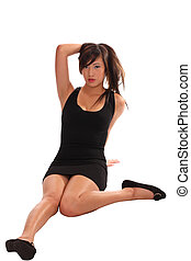 Young Asian teen woman sitting in black dress