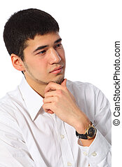 young asian thoughtful businessman in white shirt
