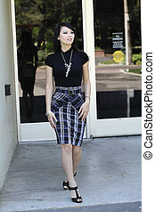 Young Asian Woman Business Skirt Top Building