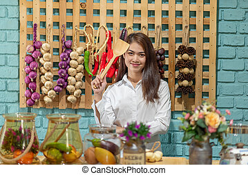Young Asian woman cooking in the kitchen, Healthy eating lifestyle concept