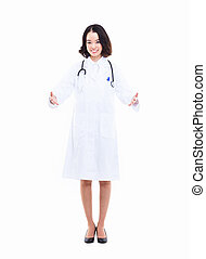 Young Asian woman doctor showing something