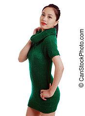 Young Asian woman green knit dress