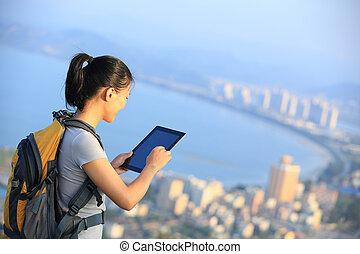 young asian woman hiker
