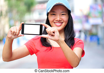 young asian woman hold cellphone