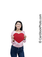 Young asian woman holding red paper hearts