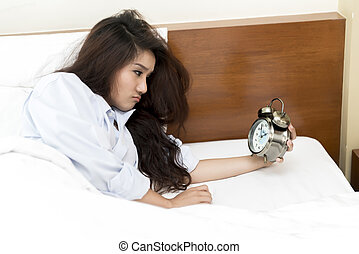Young Asian woman insomnia