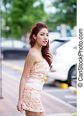 Young Asian woman outdoor portrait,