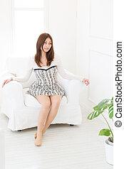 young asian woman relaxing