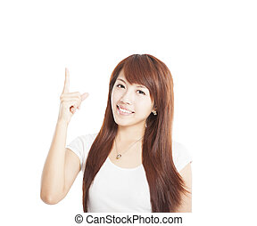 young asian Woman smiling and pointing up