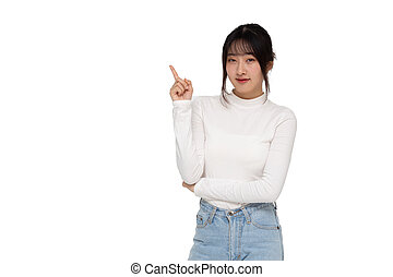 Young Asian woman smiling and pointing to empty copy space isolated on white background