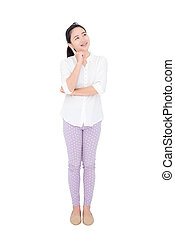 Young asian woman thinking over white background