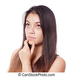 young asian woman thinking