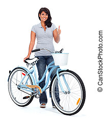 Young asian woman with bicycle.