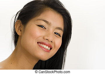 young asian woman with big smile