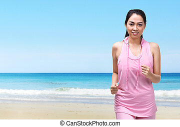 Young asian woman with sportswear running