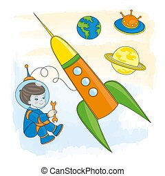 YOUNG ASTRONAUT Children Cartoon Vector Illustration Set