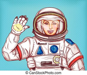 Young astronaut girl in a space suit waving her hand