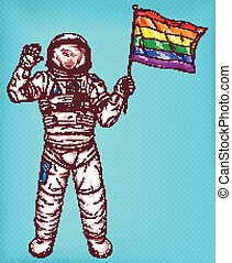 Young astronaut girl with rainbow flag