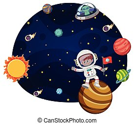 Young astronaut scene concept