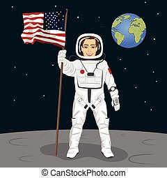 Young astronaut standing on the moon holding usa flag on the backround of earth