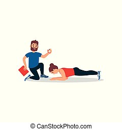 Young athlete girl doing plank exercise under control of personal trainer. Coach holding stopwatch and folder. Flat vector design