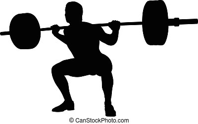 young athlete powerlifter squat in powerlifting black...