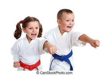 Young athletes in kimono beat a punch arm on a white background