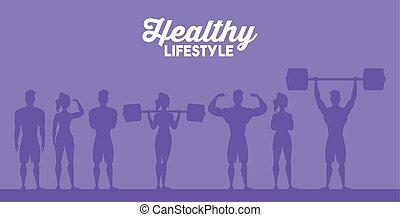 young athletes people characters silhouettes