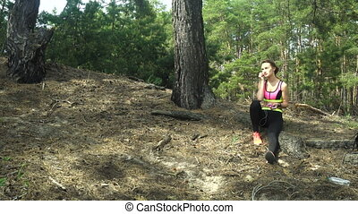 young athletic girl listening music and running away