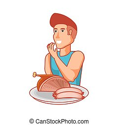 young athletic man with ham and sausages
