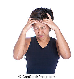 Young athletic woman suffering bad head ache