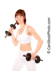 Young athletic woman with dumbbells