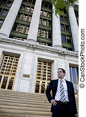 Young Attorney in Front of Courthouse - Twenties