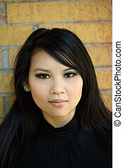 Young Attractive Asian American Woman Outdoor Portrait