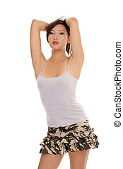 Young attractive Asian American woman tee shirt skirt