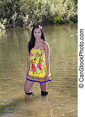 Young Attractive Asian American Woman Yellow Dress